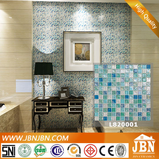 for Bathroom Wall Luster Blue Crystal Glass Mosaic (L820001)