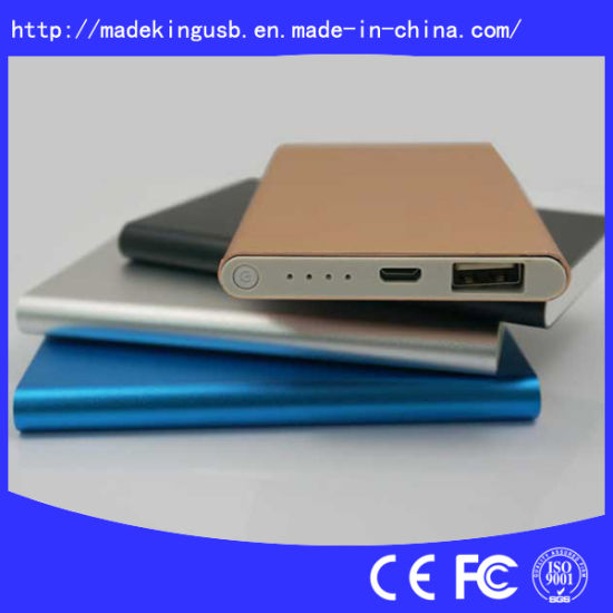Slim Aluminium Alloy Portable 4000mAh Power Bank with Dual Output pictures & photos