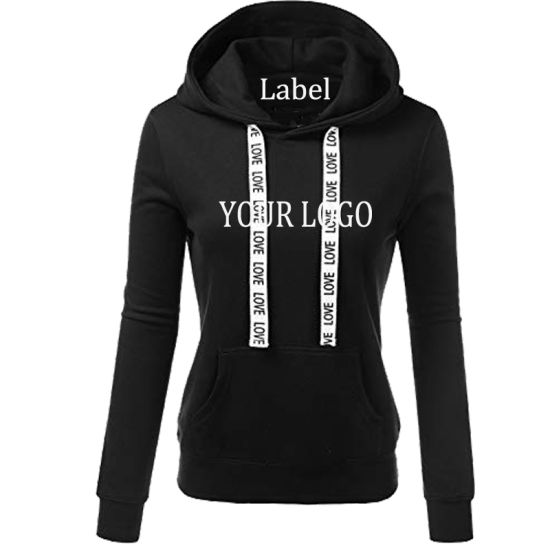 a45fba17688ede Fashion Streetwear High Quality Hooded Sweatshirt Custom Cotton Fleece Women  Hoodie with Woven Tape