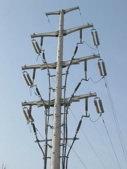 1-500kv Single Pipe Power Transmission Tower pictures & photos