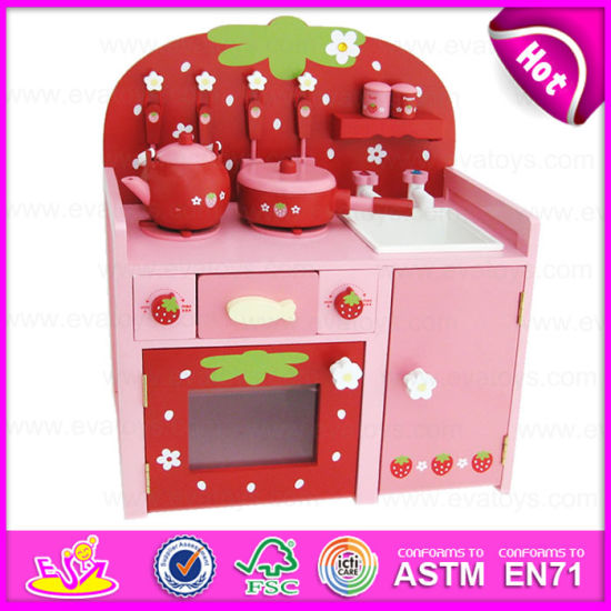 2015 Green Paint Wooden Classic Kitchen Toy, Kids Wooden Kitchen Sets Toy  For Mother Garden, Wooden Toy Strawberry Kitchen (W10C147)