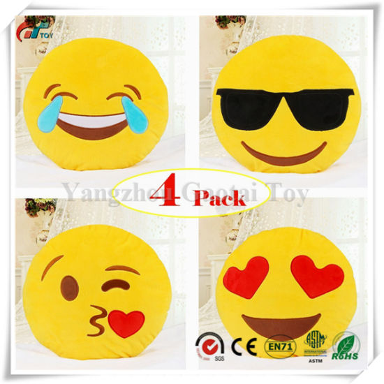 Emoji Pillow Set, Dreampark 4 Pack Smiley Pillow Emoticon Cushion Stuffed Plush Round Yellow Soft Pillow (13 inches)
