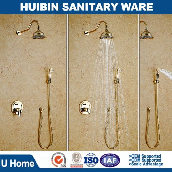 China Wall Mounted Concealed Gold Shower Mixer Bathroom Shower Set ...