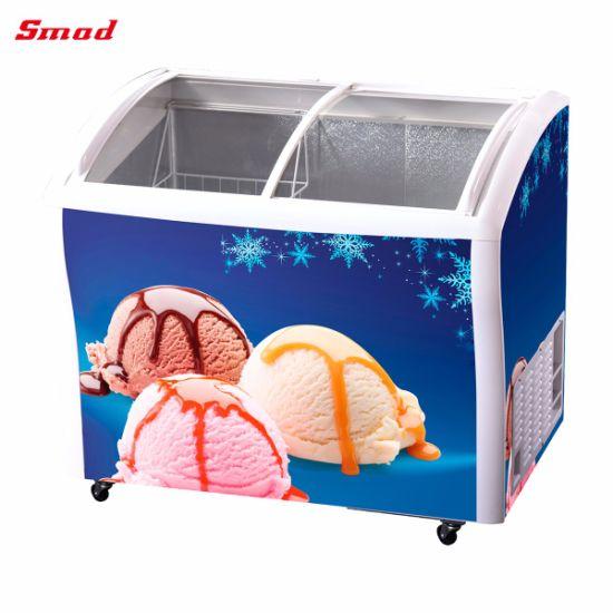Glass Door Chest Freezer, Ice Cream Deep Freezer