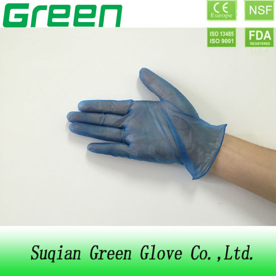 Blue Disposable PVC Gloves (ISO, CE certificated) pictures & photos