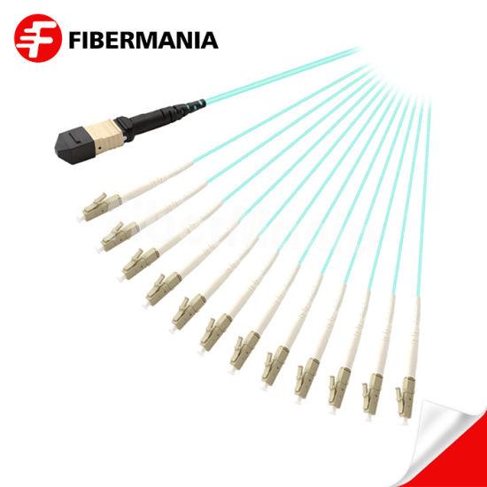 Factory Popular Market OM3 12 Fibers MTP Female to LC Simplex Fanout Cable Fiber Optical Cable Fiber Optic Cable