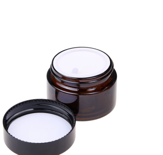 Set of Four Glass Amber Bottle Refillable Cosmetics Jars with Lid