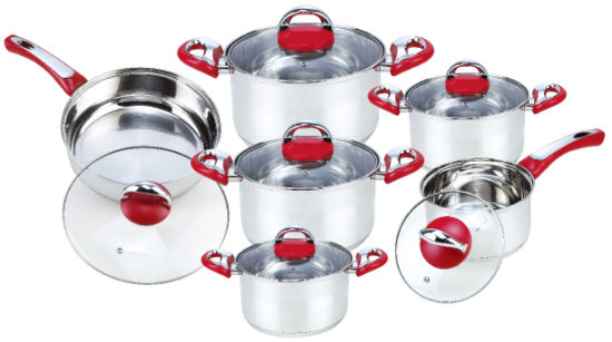 Cookware Set with Frypan in Glass Lid