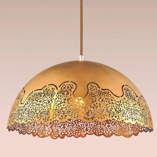 China Pendant Custom Shade Chandelier, Gold Mesh Lamp Shade