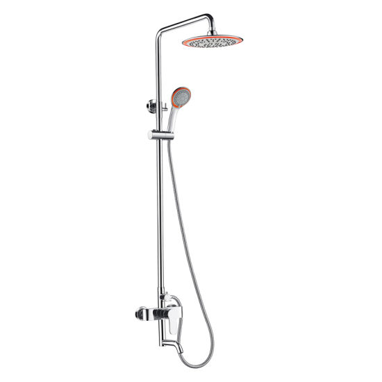 Exposed Pipe Shower System With Tub Faucet.Luolin Shower System Pressure Balancing Valve Exposed Shower System Rainfall Mixer Chrome 885 3