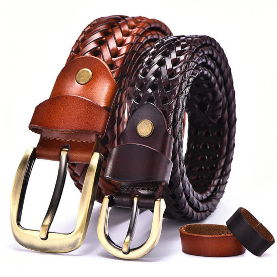 Manual Braided Leather Belt for Men pictures & photos