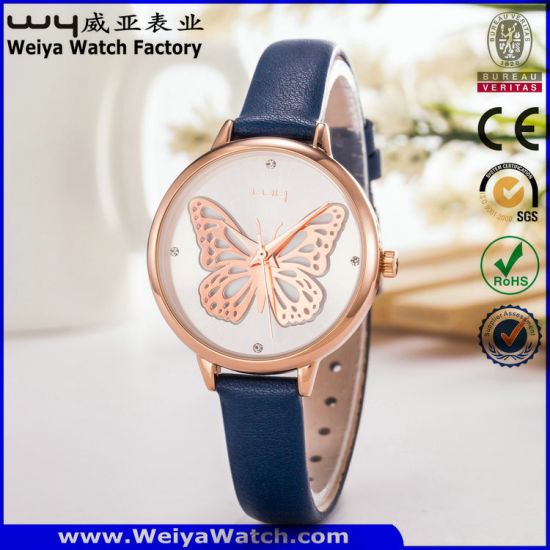 Custom Leather Strap Alloy Steel Quartz Ladies Sports Watch (WY-130C) pictures & photos