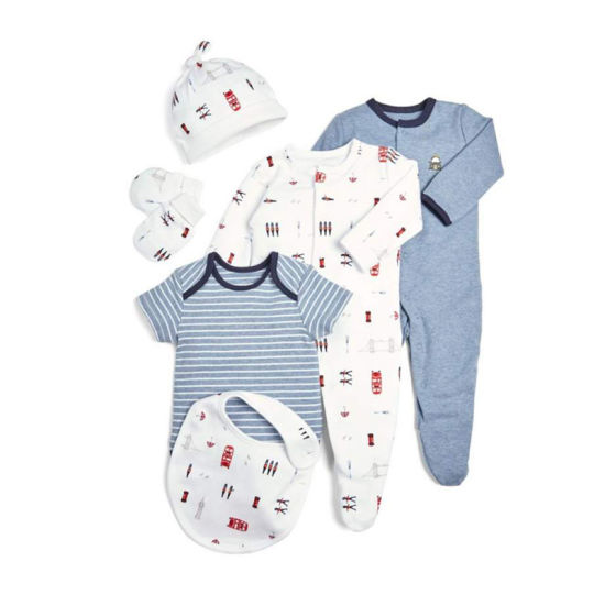 Newborn Baby Boy Grow with Me 6 Piece Layette Set