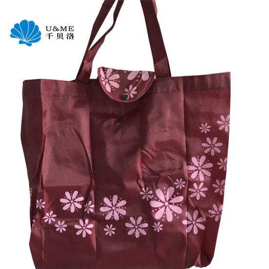 6430009bff3 China Reusable Polyester Shopping Tote Nylon Custom Foldable Bag ...