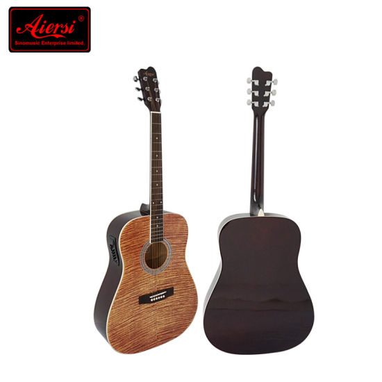 Wholesale Quilted Top Plywood Colourful Electrical Acoustic Guitar pictures & photos