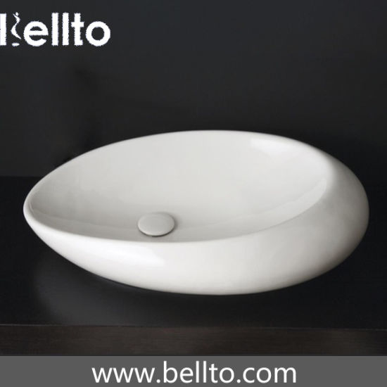 New Bathroom Round Style Porcelain Vessel Sink Above Counter White Countertop