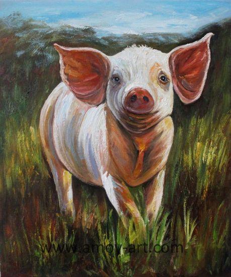 China Modern Decorative Painting Funny Pig Animal Canvas Wall Art ...