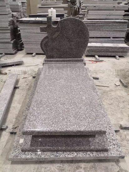 European Style Modern Design G664 Tombstone with Leaf Sculpture