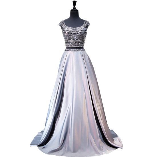 Beaded Crystal Formal Gown Grey Custom Prom Evening Dresses Bc1134