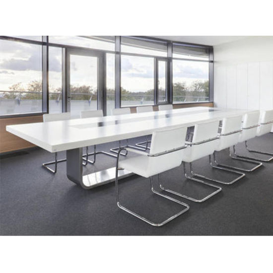 Modern Office Boardroom Table For 12 10 Seats Conference With Metal Leg Electric Outlet