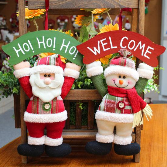 27*5*38cm Christmas Plush Hanging Mini Toy Lovely Santa Claus Snowman Xmas Decorative Gift Ornament Toy
