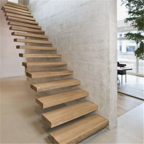 Prefab Luxury Tempered Glass Railing Solid Wood Floating Stairs