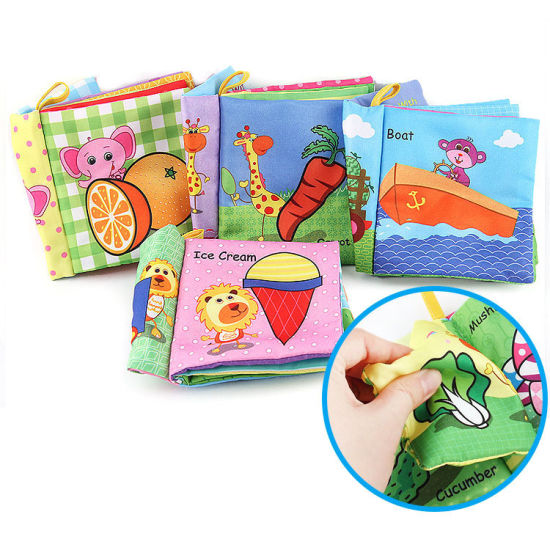 Teether Jungly Tails Tag English 3D Story Fabric Sample Quiet Printing First Year Baby Memory Early Learning Kid Infant Book
