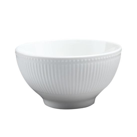 America Hot Sale Cheap Embossed Porcelain Ceramic Cereal Bowl