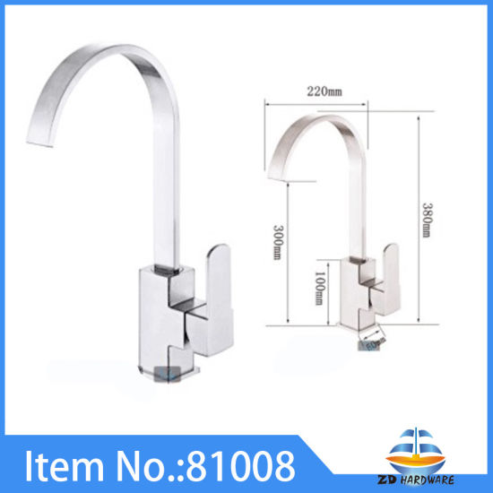 China Stainless Steel Square Kitchen Sink Faucets One Handle Hot