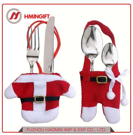 Christmas Supplies Desktop Decoration Christmas Knife and Fork Bags Christmas Cutlery Set