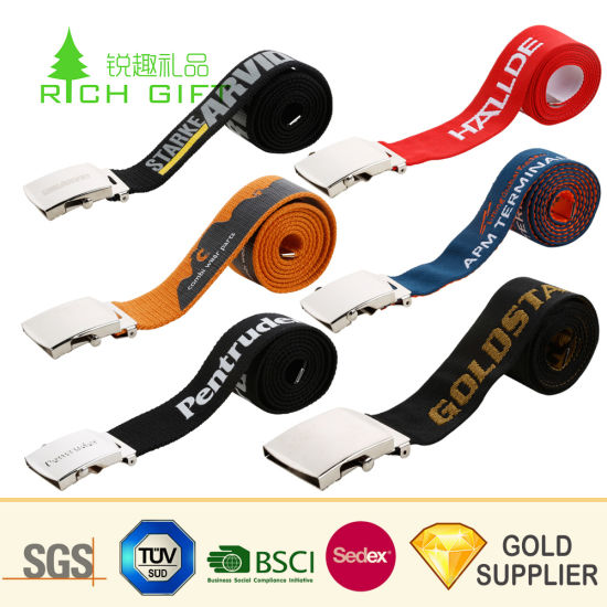 Wholesale High Quality Custom Personalized Heat Transfer Printed Buckles Belt Strap for Promotion