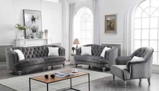 Leisure Grey Velvet Fabric Sofa Set
