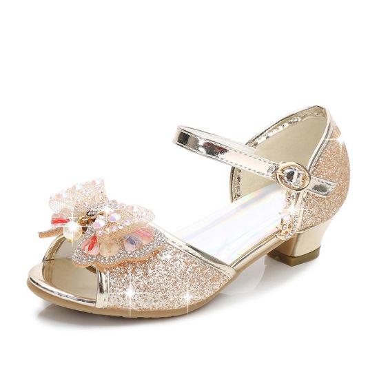Girls Kids Diamond Rhinestone Princess Party Dress Butterfly Dance Shoes 229c845aa3d3