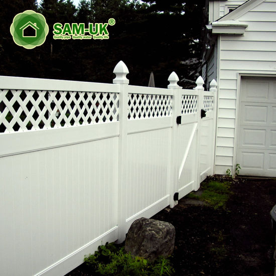 4' X 8' Modern Vinyl Privacy Fence with Top Lattice