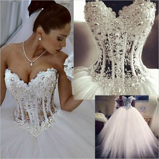 China Pear Bodice Bridal Wedding Ball Gown Tulle Corset Sheer ...