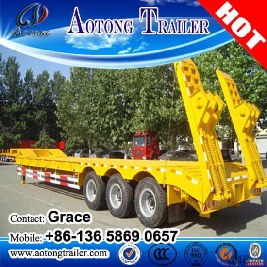 Road Transport 3 Axle Gooseneck Lowboy Semi Trailers Low Bed Trailer pictures & photos