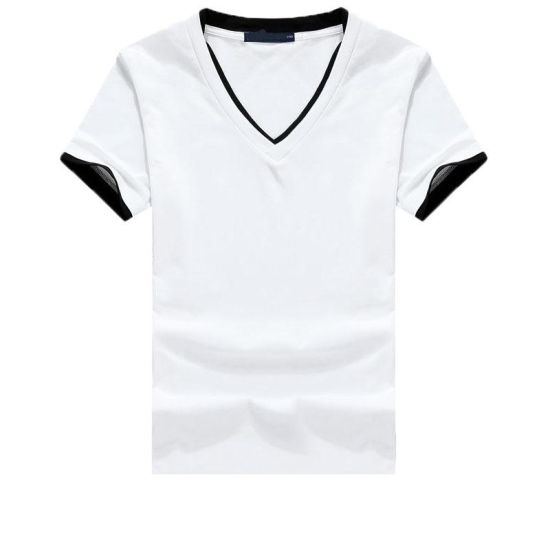 51994a38b249 China OEM V-Neck T-Shirt for Men Blank and White Color - China Men′s ...
