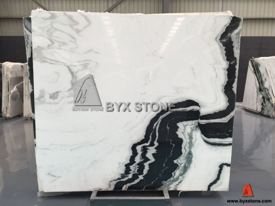Panda White Marble Slab With Black Veins For Countertop Wall