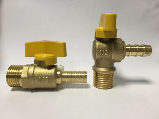 Straight Style Male Thread Brass Gas Ball Valve with Butterfly Handle pictures & photos