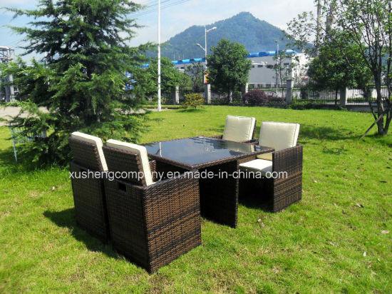 China Cube Rattan Garden Furniture Set Chairs Sofa Table
