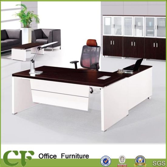 White And Brown Office Boss Table From Guangzhou Supplies