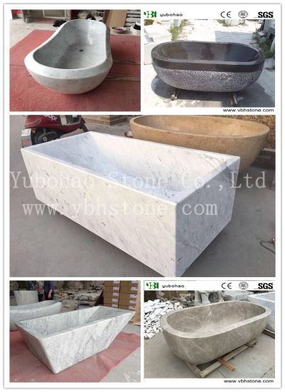 Rectangle/Oval/High Quanlity/Customized/Modern Freestanding Bianco Carrara White Marble Polished Natural Stone Bathtub for Home Decoration