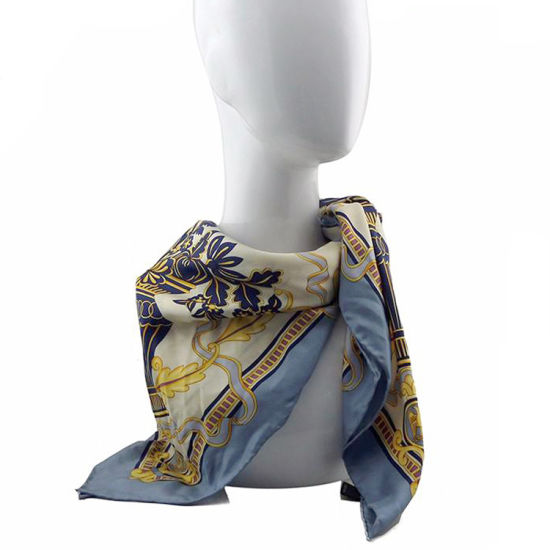OEM Oversized Screen Printing Multi Blue Chiffon Silk Scarf pictures & photos