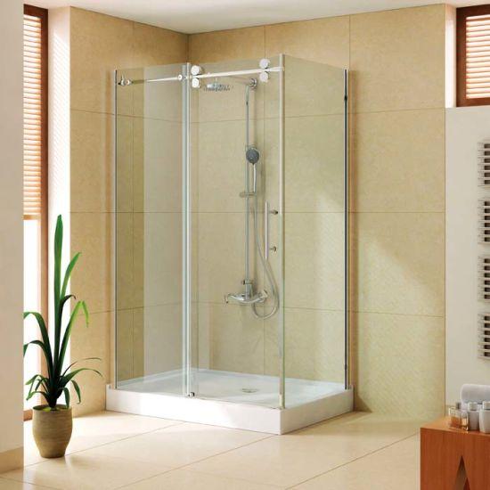 Frameless Sliding Shower Door for USA 1 Sliding Shower Door for USA with Stainless Steel 304 Sliding Rail, Big Roller K-Q02
