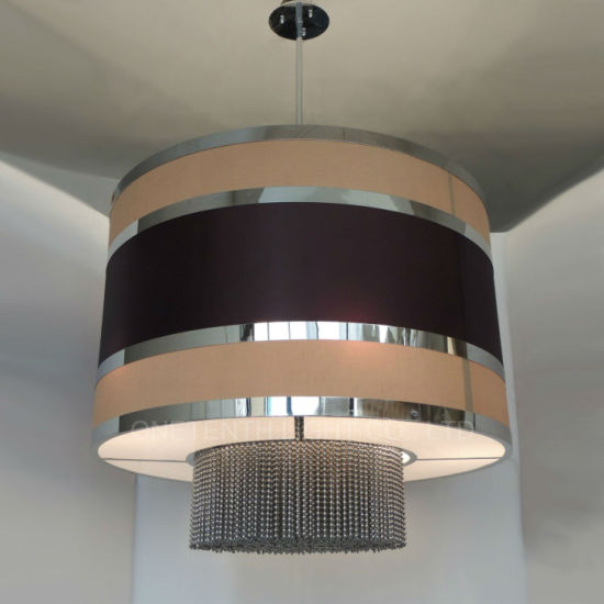 Custom Square Aluminum Chains Beige Black Fabric Shade Chandelier at Restaurant