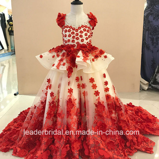 Red Champagne Lace Girls Ball Gown