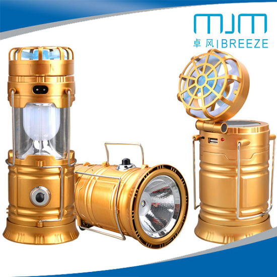 Hot Sale Multifunction Solar Cell /DC Camping Lantern with Fan&Camping Light with Fan pictures & photos