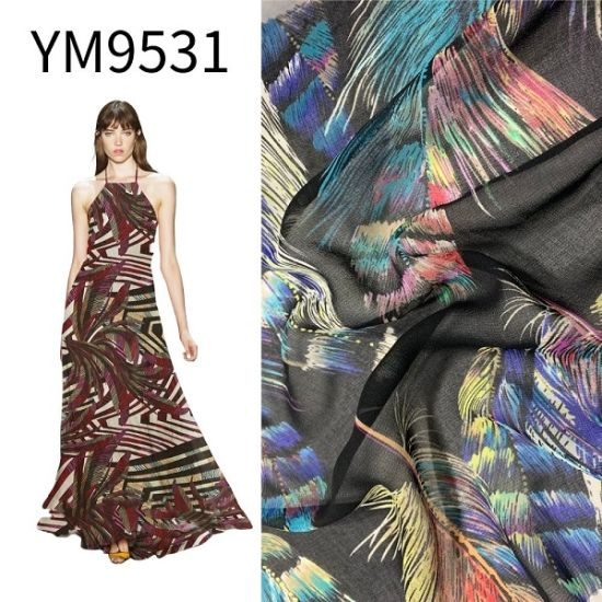 Ym9531 20d 26D Ity Silk Like Chiffon Printed Printing 63GSM Polyester Fabric for Dress pictures & photos