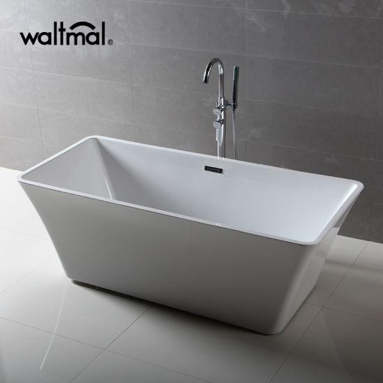 Square Shape Narrow Border Slim Overflow Freestanding Tub