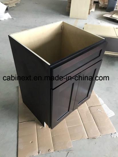 Frame Construction Modern Kitchen Cabinet Modular Solid Wood Espresso Shaker